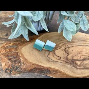 Handmade Clay Square Studs - Forest Greens Series